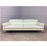 Product photograph showing Rocco 3 Seater Sofa In Bull 370 White