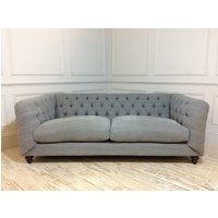 Product photograph showing Dulwich Midi Fabric Sofa In Linen Mix Pigeon