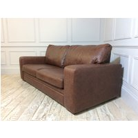 Sloane 3.5 Seater Leather Sofa Bed in Hazel