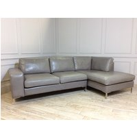 Product photograph showing Kingly 3 Seater Leather Sofa With Chaise In Slate