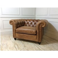 Product photograph showing Duresta Connaught Leather Haig Chair In Clyde Oak