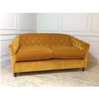 Product photograph showing Payton 3 Seater Fabric Sofa Bed In Saffron