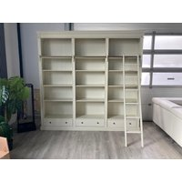 Product photograph showing White Wooden Bookcase And Shelving With Ladder