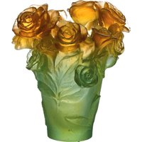 Daum Rose Passion Green and Orange Vase