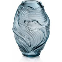 Lalique Poissons Combattants Medium Persepolis Blue Vase - David Shuttle Gifts