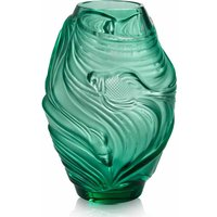 Lalique Poissons Combattants Medium Mint Green Vase - David Shuttle Gifts