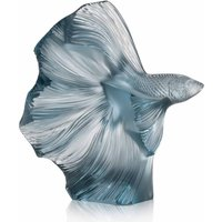 Lalique Fighting Fish Sculpture Small, Persepolis Blue - Fighting Gifts