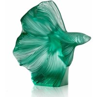 Lalique Fighting Fish Small Mint Green Sculpture - Fighting Gifts