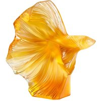 Lalique Fighting Fish Large Orange Sculpture - Fighting Gifts