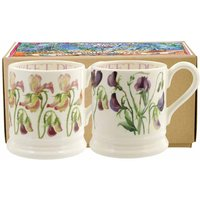 Emma Bridgewater Set of 2 Sweet Pea Flower 1/2 Pt Mugs (Boxed) - Mugs Gifts