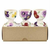 Emma Bridgewater Purple Wallflower Set of 3 Egg Cups (Boxed) - Cups Gifts