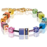 Coeur De Lion Geo Cube Multicolour Rainbow Gold Bracelet | 2838/30-1573 - Fashion Gifts