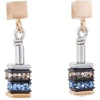 Coeur De Lion Geo Cube Blue & Rose Gold Earrings   4950/21-0700