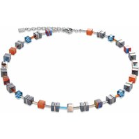 Coeur De Lion Geo Cube Orange & Turquoise Necklace - Turquoise Gifts