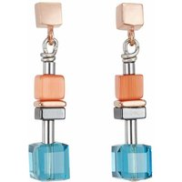Coeur De Lion Geo Cube Orange & Turquoise Earrings - Turquoise Gifts