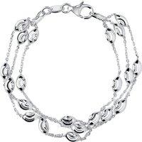 Links Of London Essentials Silver Beaded 3 Row Bracelet, Medium   5010.2594