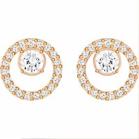 Swarovski Creativity Circle Small Earrings, White, Rose Gold Plated - Creativity Gifts
