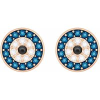 Swarovski Crystal Wishes Evil Eyes Stud Earrings, Multicoloured, Rose Gold Plated - Crystal Gifts