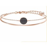 Swarovski Ginger Medium Bangle, Grey, Rose Gold Plated - Ginger Gifts