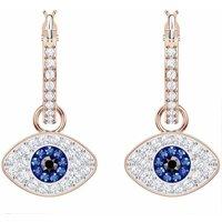 Swarovski Duo Evil Eye Hoop Pierced Earrings, Multicoloured, Rose Gold Plated - David Shuttle Gifts
