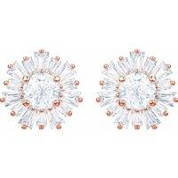 Swarovski Sunshine Pierced Earring Studs, White, Rose Gold Plated - David Shuttle Gifts