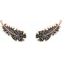Swarovski Naughty Jet Pierced Earrings, Black, Rose Gold Plated - Naughty Gifts