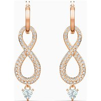 Swarovski Infinity Pierced Earrings, White, Rose Gold Plated - David Shuttle Gifts