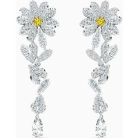 Swarovski Eternal Flower Pierced Earrings, Yellow, Rhodium Plated - Swarovski Gifts