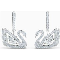 Swarovski Dancing Swan Earrings, Silver, Rhodium Plated - Swarovski Gifts