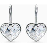 Swarovski Bella Heart Pierced Earrings, White, Rhodium Plated - Swarovski Gifts