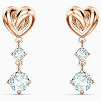 Swarovski Lifelong Heart Pierced Earrings, White, Rose Gold Plated - Swarovski Gifts