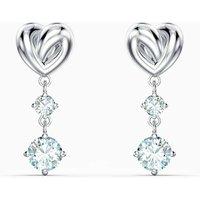 Swarovski Lifelong Heart Pierced Earrings, White, Rhodium Plated - David Shuttle Gifts