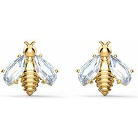 Swarovski Eternal Flower Bee Pierced Earrings, White, Gold Plated - Swarovski Gifts