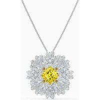 Swarovski Eternal Flower Brooch Necklace, Yellow, Rhodium Plated - Jewellery Gifts