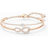 Swarovski Infinity Bangle, White, Rose Gold Plated