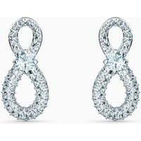 Swarovski Infinity Mini Pierced Earrings, White, Rhodium Plated - David Shuttle Gifts