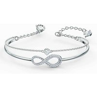 Swarovski Infinity Bangle, White, Rhodium Plated - David Shuttle Gifts
