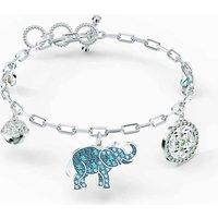Swarovski Symbolic Elephant Bracelet, Blue, Rhodium Plated - David Shuttle Gifts