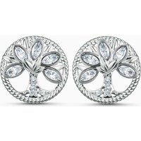 Swarovski Symbolic Tree of Life Stud Pierced Earrings, White, Rhodium Plated - Swarovski Gifts