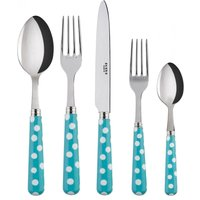 Sabre White Dots Turquoise 5 Piece Cutlery Set - Cutlery Set Gifts