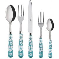 Sabre Hawaiian Flowers Turquoise 5 Piece Cutlery Set - Hawaiian Gifts