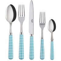 Sabre Gingham Turquoise 5 Piece Cutlery Set - Cutlery Set Gifts