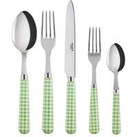 Sabre Gingham Garden Green 5 Piece Cutlery Set - Cutlery Set Gifts