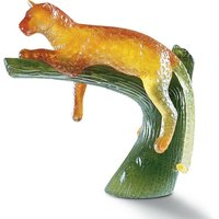 Daum Amber Panther on Green Tree - Animals Gifts