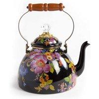 Mackenzie-Childs Flower Market 3 Quart Tea Kettle, Black