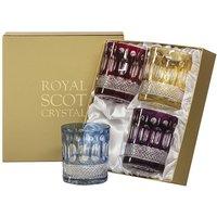 Royal Scot Crystal Belgravia 4 Large Crystal Mixed Colours Tumblers, 95mm