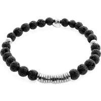 Tateossian Disc Round Black Lava Beaded Medium Bracelet | BL3814 - Bracelet Gifts