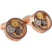Tateossian Round Gear Carbon Fibre Rose Gold Cufflinks | CL7919 - Cufflinks Gifts