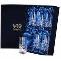 Royal Scot Crystal London 6 Tall Crystal Tumblers, 150mm
