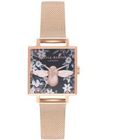 Olivia Burton Bejewelled Florals Square 3D Bee Rose Gold Mesh Watch | OB16AM134 - Bee Gifts